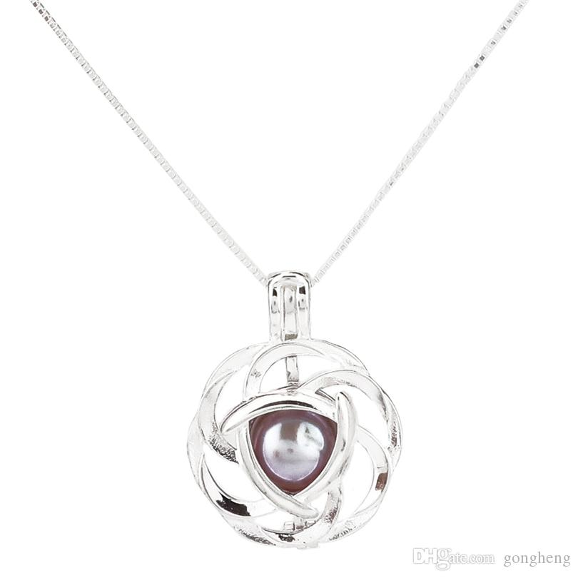 925 Sterling Silver Pick a Pearl Cage Flower Locket Pendant Necklace Boutique Lady Gift K981