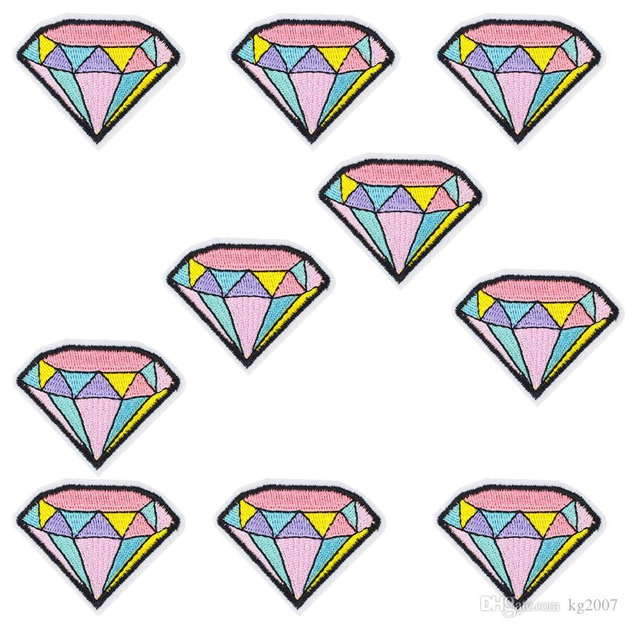Ferro su patch per vestiti cucire ricamo strisce di cartoni animati Pantaloni applique Patch per Giacca Borsa Colorful Diamond Accessori 10 pz