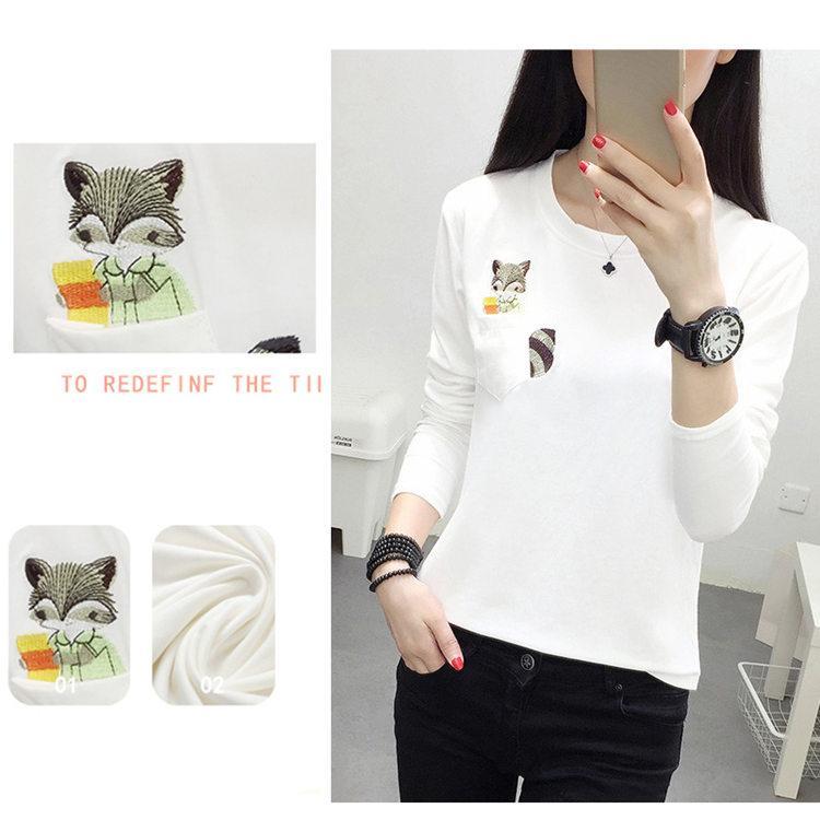 Embroidery T-shirts Women Tshirt O-neck Long Sleeve T-shirts Women Autumn Tops Tee Shirt Femme 2019 Cotton Camisetas Large Size (2)