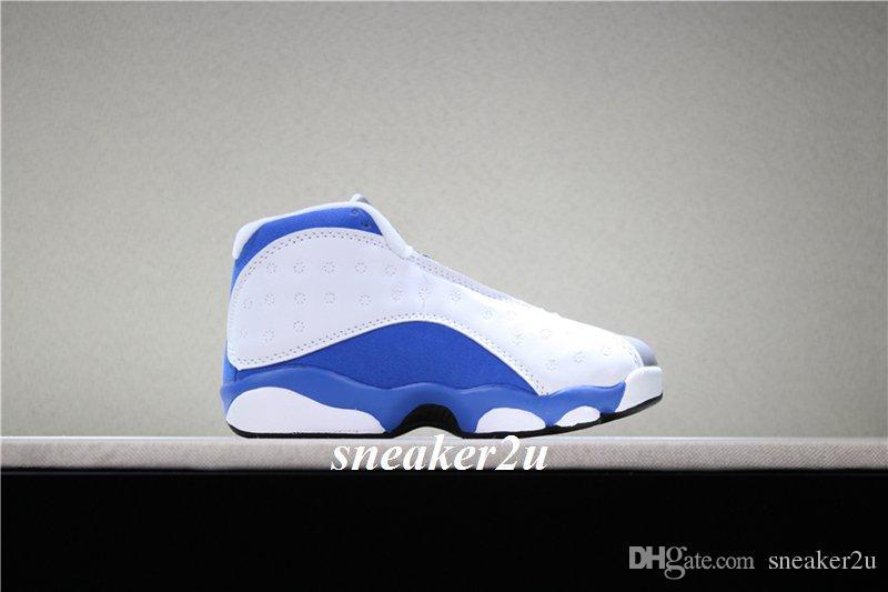 Niños 13 ITALIA AZUL Zapatillas de baloncesto blancas italia azul-lobo gris Niños 13 Calzado deportivo tamaño US 11c-3y con estuche