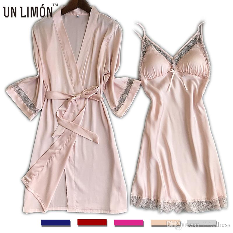 wide selection of colours and designs beauty separation shoes 2019 UNLIMON Womens Nighties Silk Nightgown Ladies Pjs Lace Girls Robes  Night Dress For Women Satin Lace Dressing Gown Summer From Ilikedress,  $25.45 ...