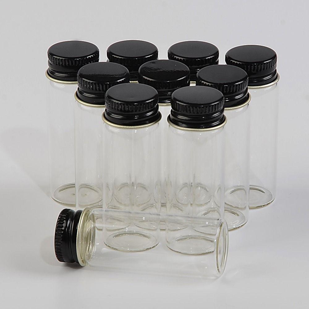 14ml Glass Bottles Aluminium Screw Cap Transparent Empty Jars Gift Glass Wishing Bottles Liquid