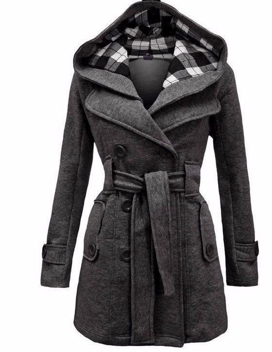 Verkauf Winter Jacken für Kapuzenpullover Mantel Frauen Zweireiher Cardigan Jacke Nähen lange Wollmäntel mit Gürtel Kleidung Vestidos