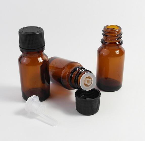 10ml Mini Amber Glass Essential Oil Butelka Pusta Próbka Fiolki Brown Butelki Załączalne Z Kapturem Reducer