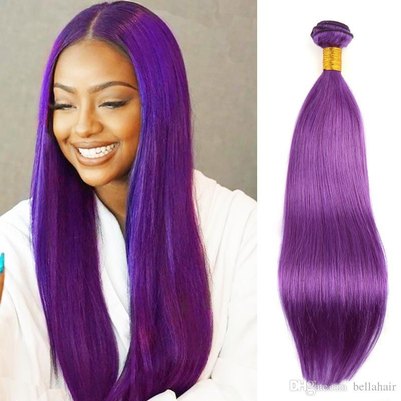 Lila Farbe brasilianische Jungfrau-Haar-Bundles seidige gerade Remy Jungfrau-Menschenhaar-einschlag Weaves 3or4 PC / Los Bella Haar