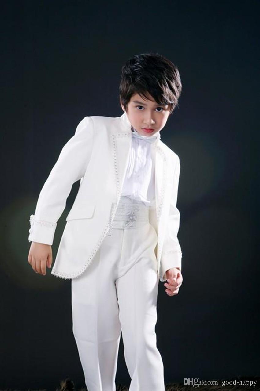 Beat Design White Boy Ropa formal Chaqueta de boda de niño de alta calidad Niño hermoso Fiesta de graduación de baile Traje (chaqueta + pantalones + Arcos Corbata + Cintura) 63