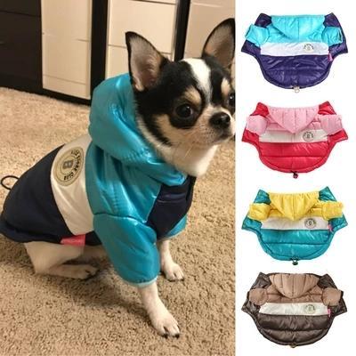 Outono-Inverno Quente Pet roupas para cachorros filhote de cachorro Waterproof Brasão Cat Jacket com capuz roupas de algodão para pequenos animais de estimação Chihuahua Dog Outfit