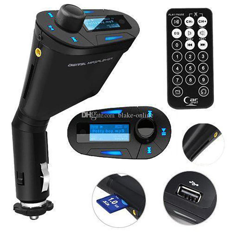 Car LCD Kit MP3 Stereo Player Wireless FM Transmitter Remote USB Charger Charger Adapter WMA USB SD MMC Card Slot