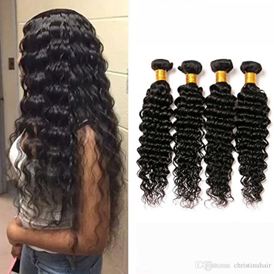 Glamorous Hair Peruvian Indian Malaysian Brazilian Deep Wave Curly Human Hair Extensions Machine Made Double Weft Hair Weaves 4 Bundles/Lot