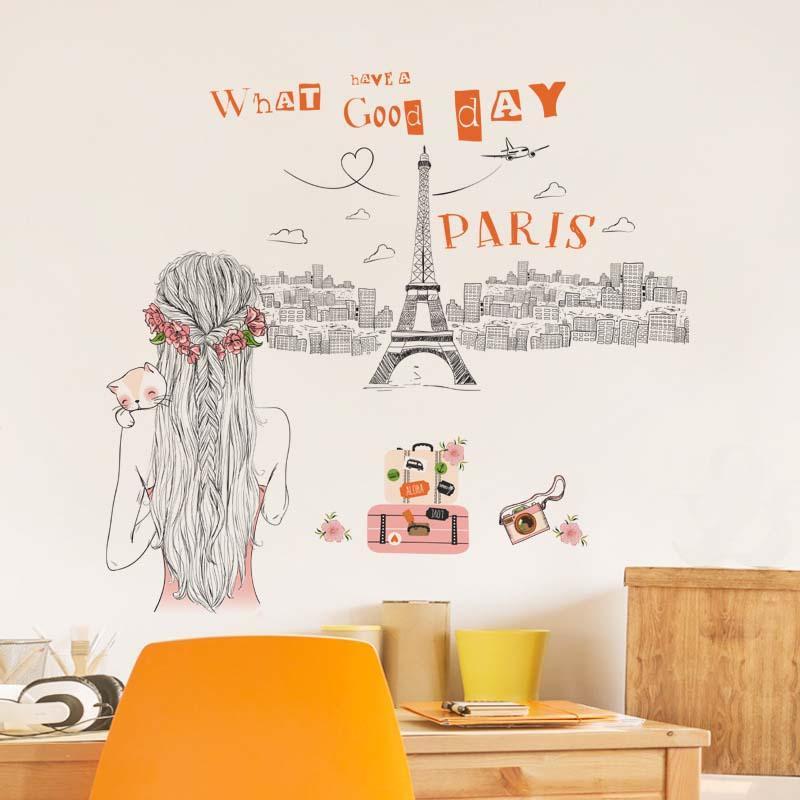Romantic Paris Wall Sticker For Girls Room Eiffel Tower Camera Wall Art  Decal Home Decor Mural Decorative Wall Decals Decorative Wall Decals  Removable ...