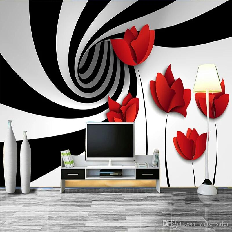 Custom Mural Wall Paper Black And White Striped Flowers