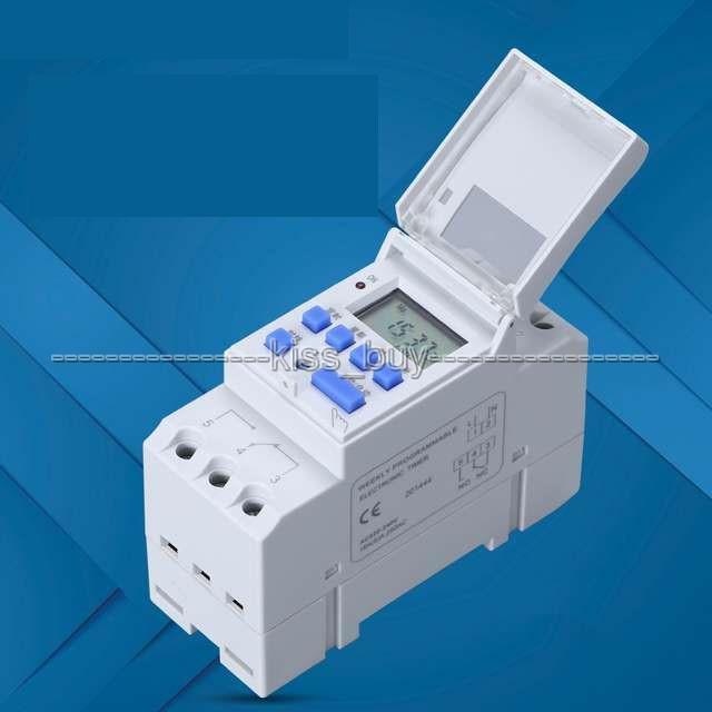 Freeshipping TTHC15A AC 220 V 16A Mikrobilgisayar Haftalık Programlanabilir Dijital LCD ZAMANLAYıCı ANAHTARı Zaman Rölesi Kontrol Din Ray SAAT