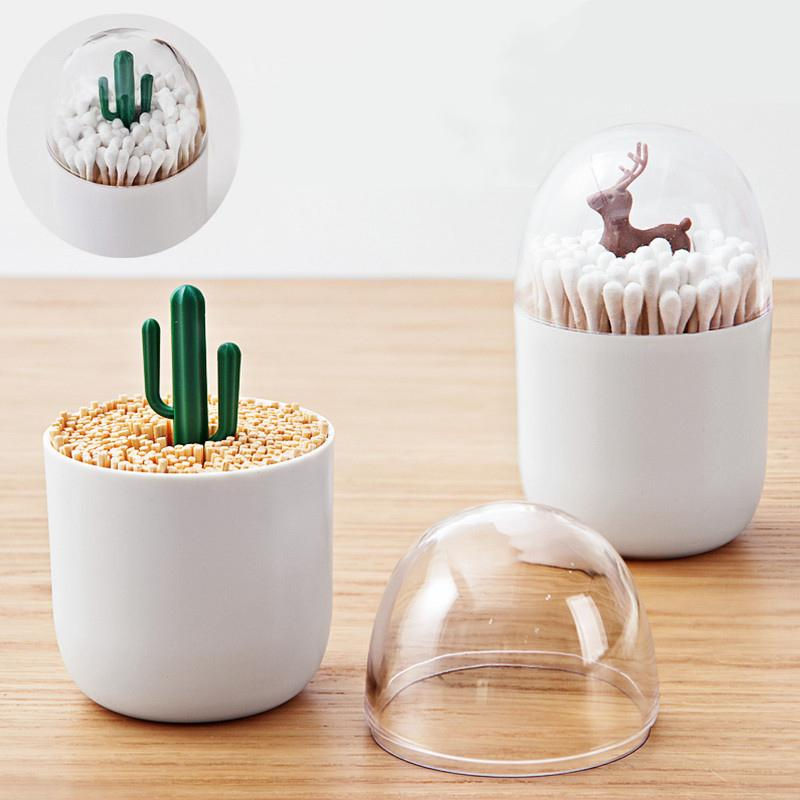 Plastic Toothpicks Holder Cotton Swab Box Cute Artificial Mini Cactus Christmas Tree Kitchen Table Accessories Home Decorate