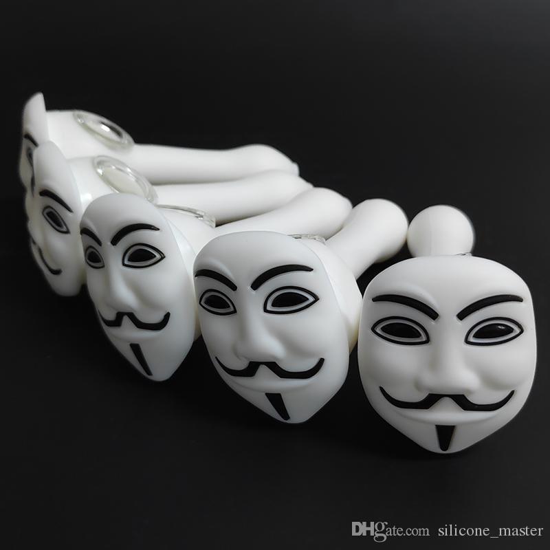 V Face Mask White золоуловителя Силиконовая курительная трубка со стеклом Чаша Ложка для рук Трубы 5,12 дюйма Pyrex нефти
