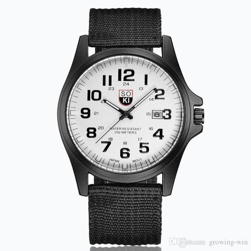 Große Zahlen Zifferblatt Großhandel Mode Herren Männer Nylon Leinwand Militäruhr Schwarz Kalender Datum Quarz Armbanduhr Armbanduhr