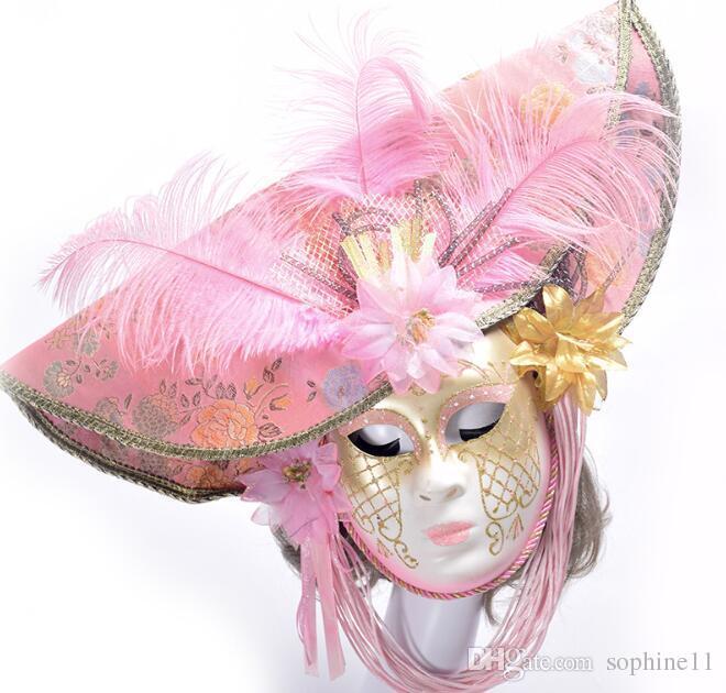 Zarif Venedik Maskeleri ile Tüy Çiçek Şapka Kadınlar Için Tam Yüz Masquerade Partisi Düğün Cosplay Sahne