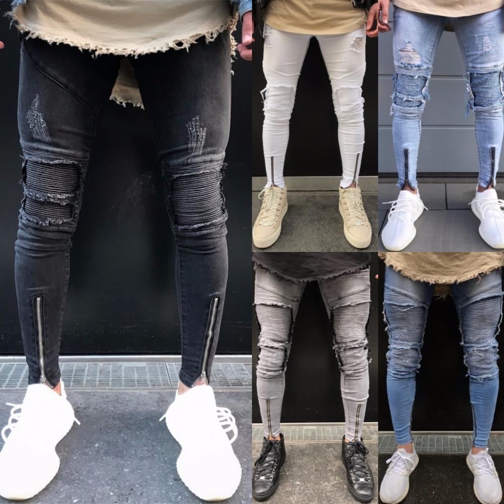 2018 Spring Fashion Hole Jeans Men Long Trousers Skinny Ripped Jeans Denim Pants Moto Biker Frayed Pencil Pants Dropshipping
