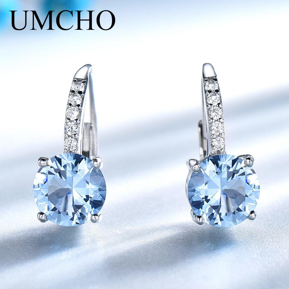 UMCHO Solid Silver 925 Jewelry Round Created Nano Sky Blue Topaz Clip Earrings For Women Birthday Gifts Charms Fine Jewelry Y18110110