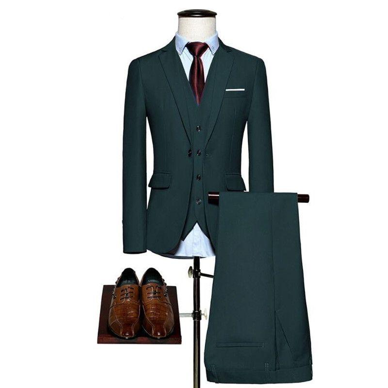 Custom Made Men Suit Wedding Suits For Men Jackets Mens Dark Green Slim Fit Groomsmen Tuxedo Costume Homme Best Man (Jacket+Pants+Vest)
