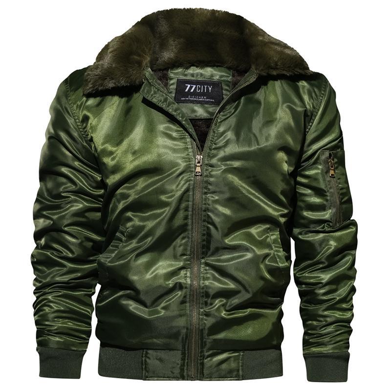 ABOORUN Kış Erkek Bombacı Ceketler Ordu Kalın Polar Kürk Yaka Ceketler erkek Moda Sıcak Ceket Parkas x1259