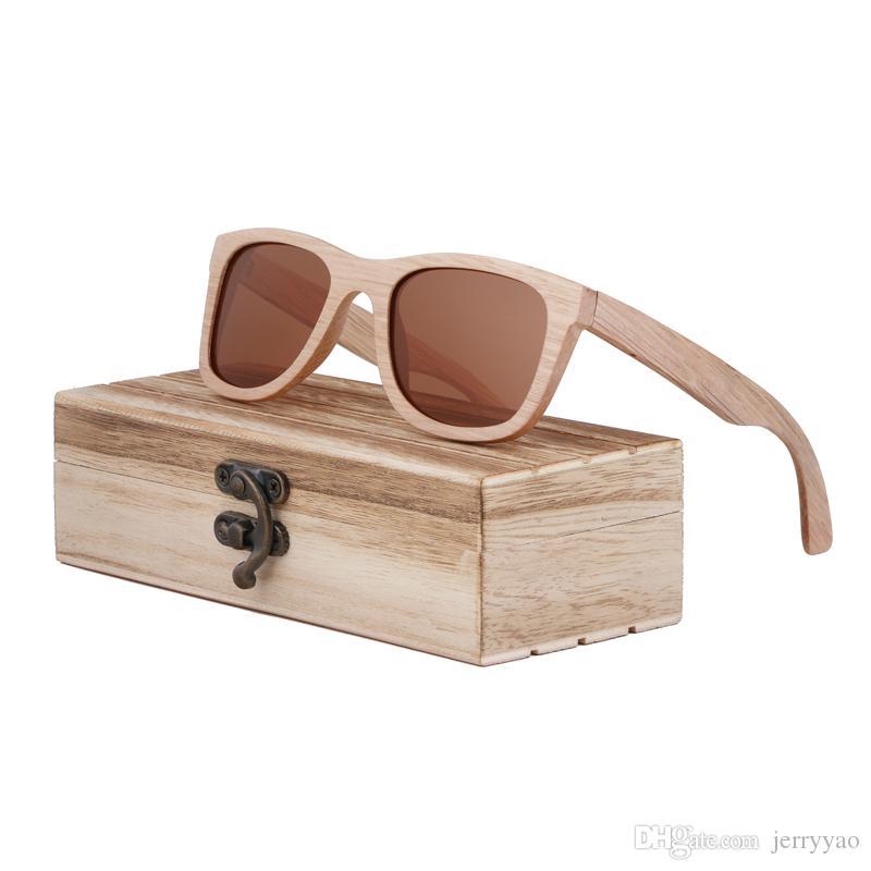 Retro Ahşap Güneş Gözlüğü Erkekler Bambu Sunglass Kadınlar Marka Tasarım Spor Gözlük Altın Ayna Güneş Gözlükleri Shades lunette okülo