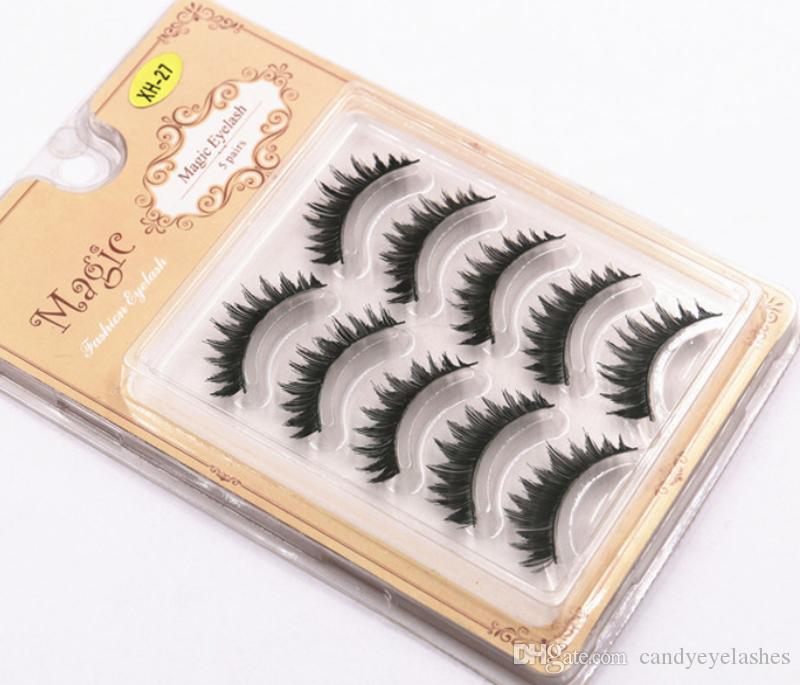 Hand Made Silk Eyelashes Full Strip Reusable Natural Soft Fake Eye Lashes Artificial human hair natural eyelashes extension false GR261