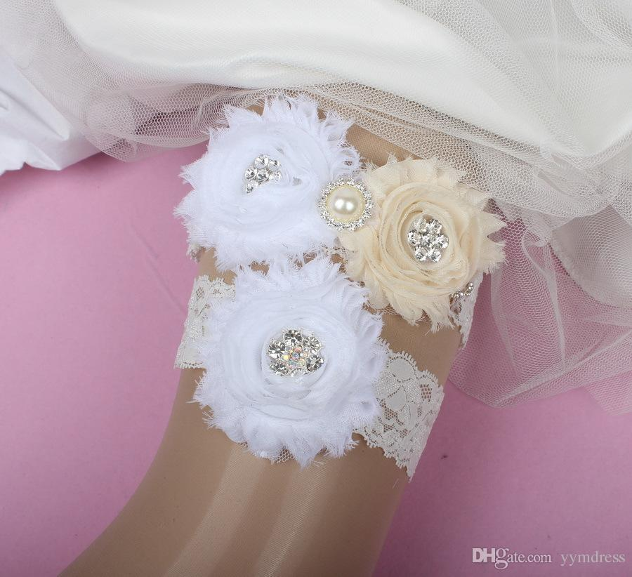 Wedding Garters For Bride Lace Bridal Wedding Garters Belt 2 Pieces set Lace Rhinestones Crystals Pearls Plus Size Chiffon Flowers