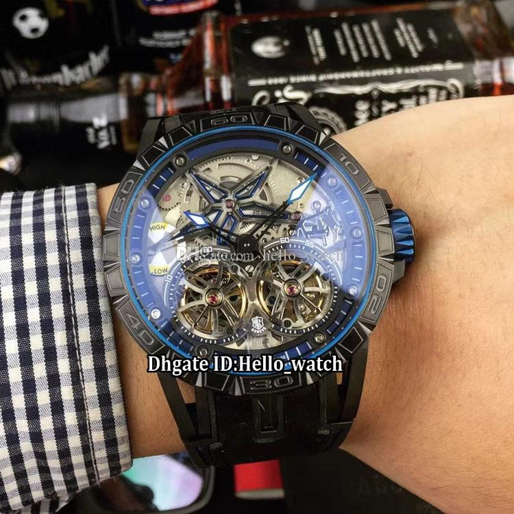 Excalibur 46 Double Tourbillon Silver Blue Red Ring Skeleton RDDBEX0643 Automatic Mens Watch PVD Black Steel Case Rubber Strap Gents Watches