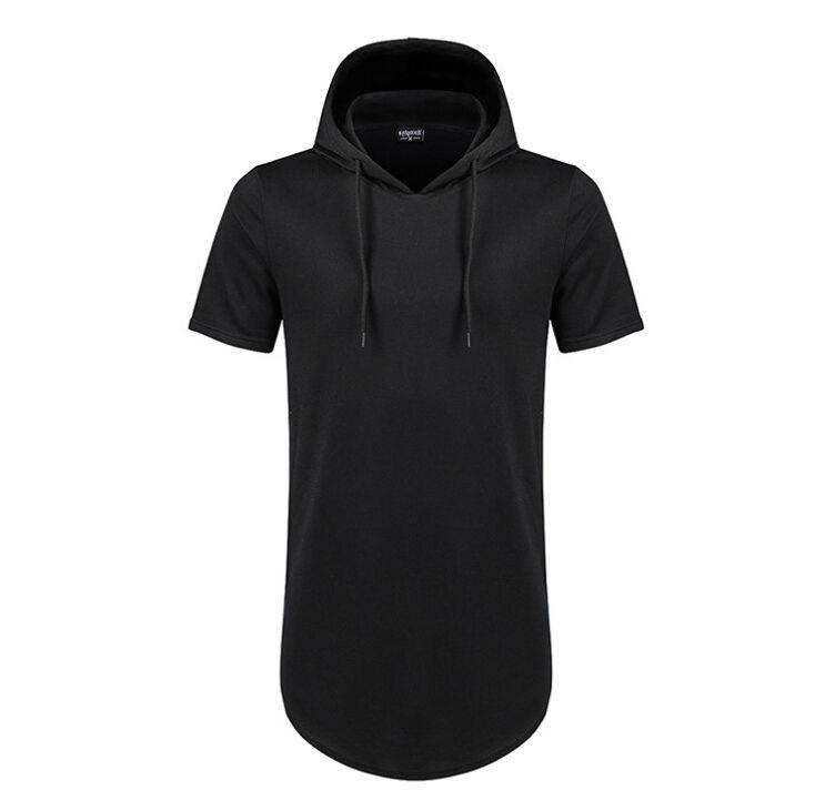 Giyim Erkek Longline Eğrisi Hem Tişörtlü Kapşonlu Mens Hipster Hip Hop Yan Kısa Kollu T gömlek Zip