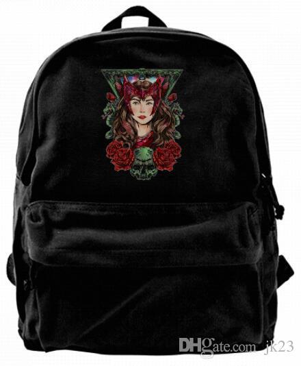 Super heros red rose witch Powers Canvas Shoulder Backpack For Men & Women Teens College Travel Daypack Design handbag
