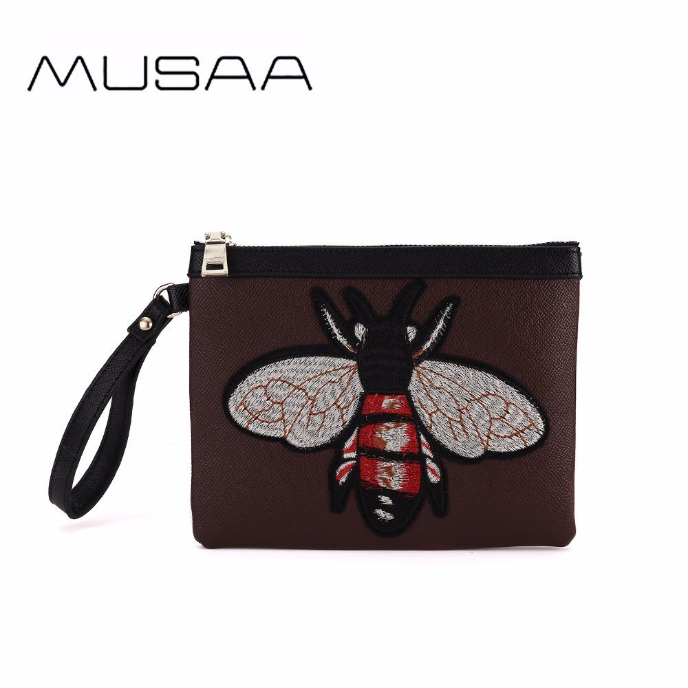 73674bf11d04 Musaa Women Animals Embroidery Clutch Bags Fashion Girl Classic Pu Leather  Wristlets Bag Refreshing Concise Ladies Wallet Leather Handbags Ladies ...