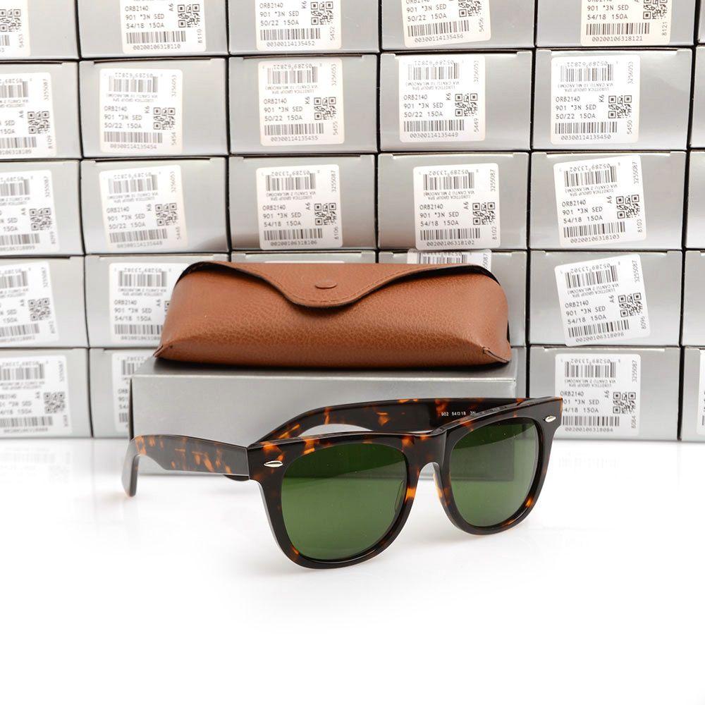 Occhiali da sole di alta qualità listone nero frame Verde Lens Occhiali da sole in metallo cerniera occhiali da sole delle donne degli uomini Occhiali da sole unisex calda Occhiali da sole scatole