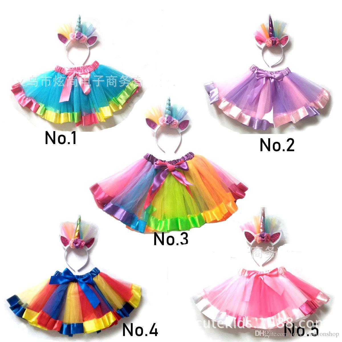 Venta al por menor Baby Girls Rainbow Tulle Falda Tutu Faldas Unicornio Histemas de la diadema de Unicornio Halloween Navidad Cosplay Party Partido Plisado Ropa para niños