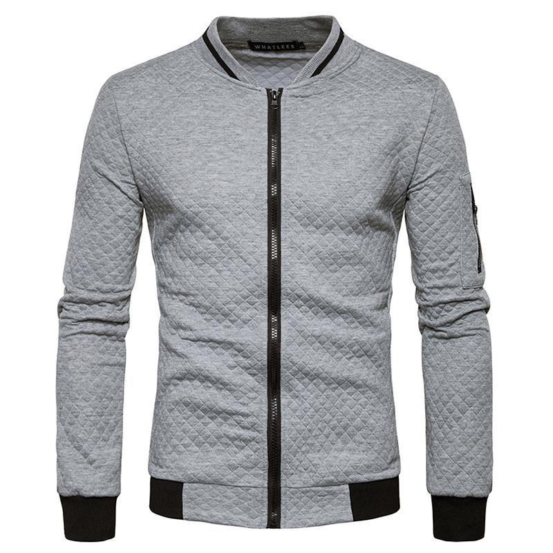 Sudadera cremallera chaqueta de punto chaqueta de la capa de la chaqueta a cuadros Moda collar de pie de los hombres de la ropa para hombre de la camiseta de otoño