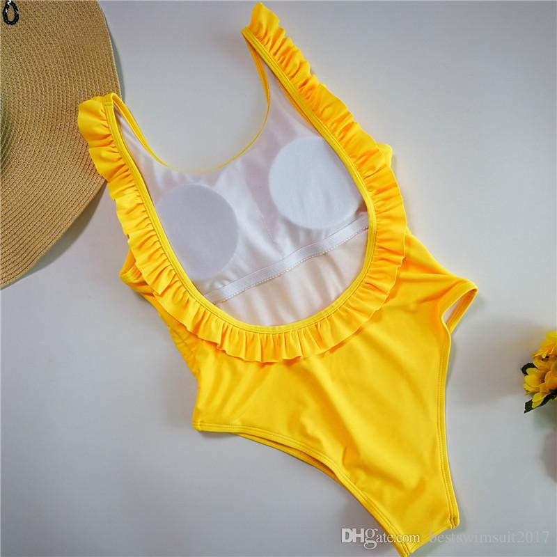 2018 Hot Sexy Pink Flouncing Swimsuit One Piece Suit Swimwear Mulheres Ruffle Monokini Bodysuit Léotard Beach Girl OPEU Voltar Swim Wear Balneares