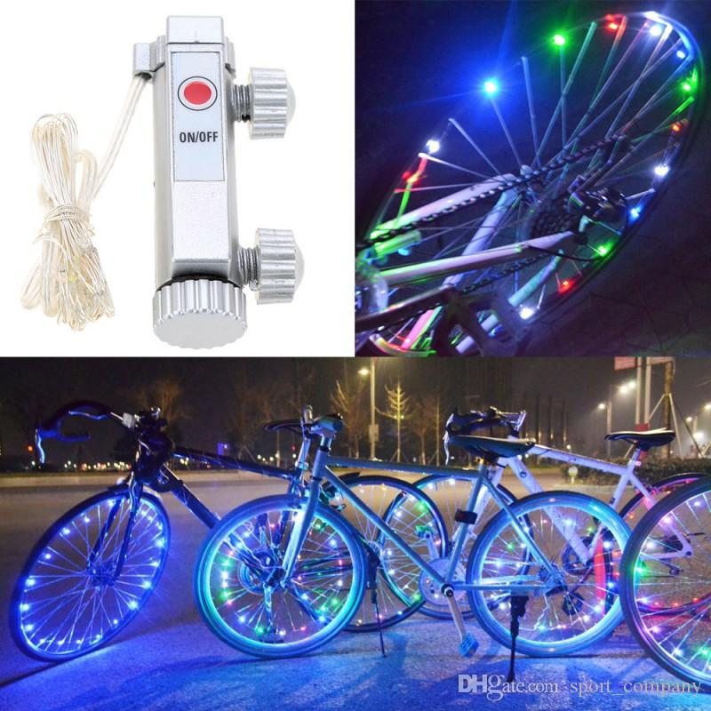 20 LED Bicycle Wheel Light Waterproof Wire LED String Light Bicycle Wheel Rim Lights Battery Powered Bike Wheel Valve Cap Lights