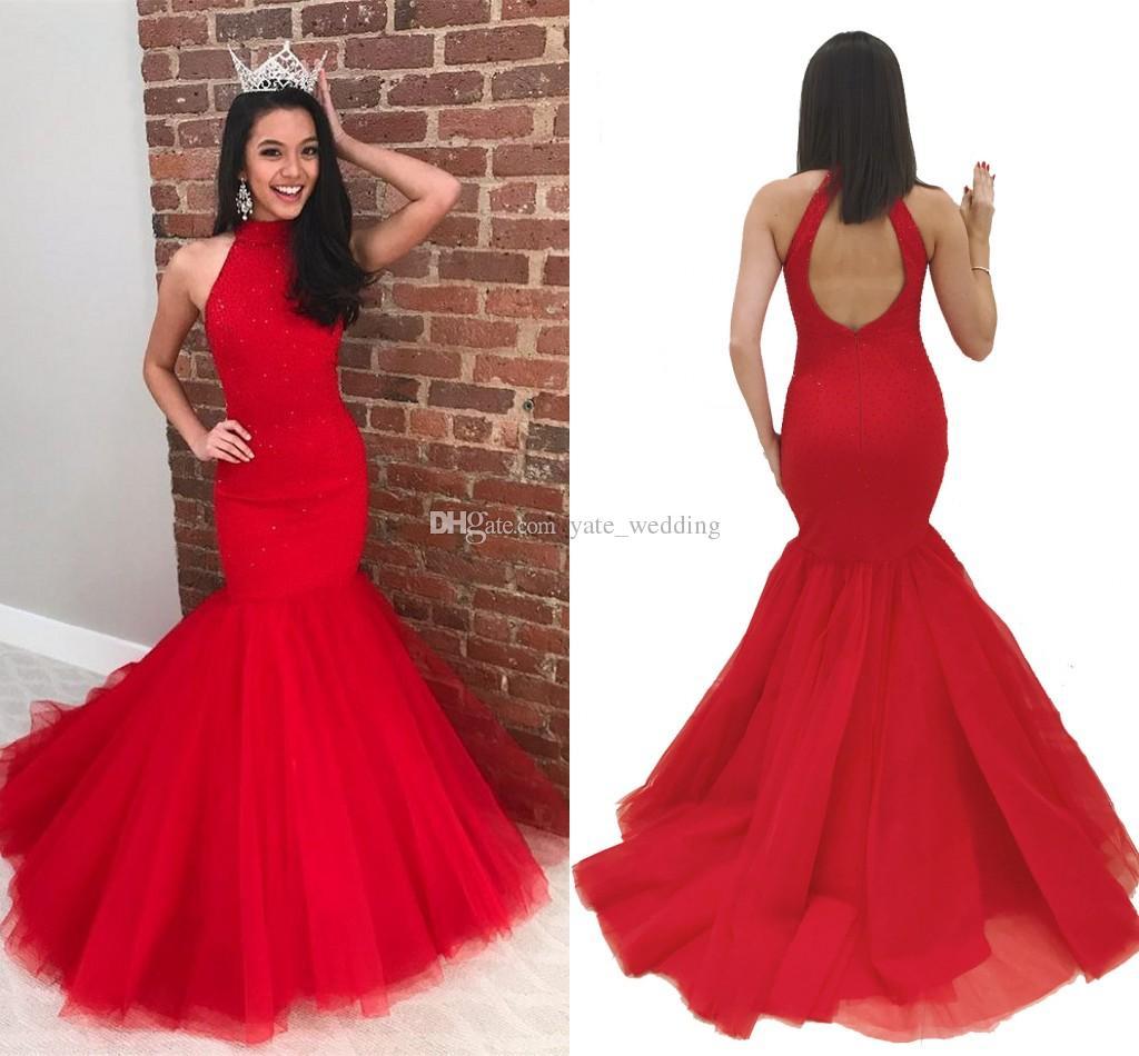 Red Mermaid Prom Dresses High Neck Ärmellose Perlen Tüll Satin Plus Size Partykleider Keyhole Back Graduation Kleider Sweep Train