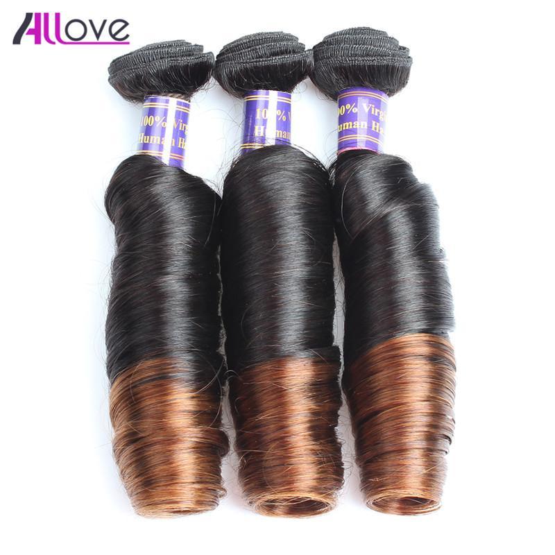 10A Spring Curl 3Bundles Ombre Brazilian Virgin Hair Peruvian Spring Curl T1B/4 Indian Virgin Hair Malaysian Spring Curl Two Tone Color