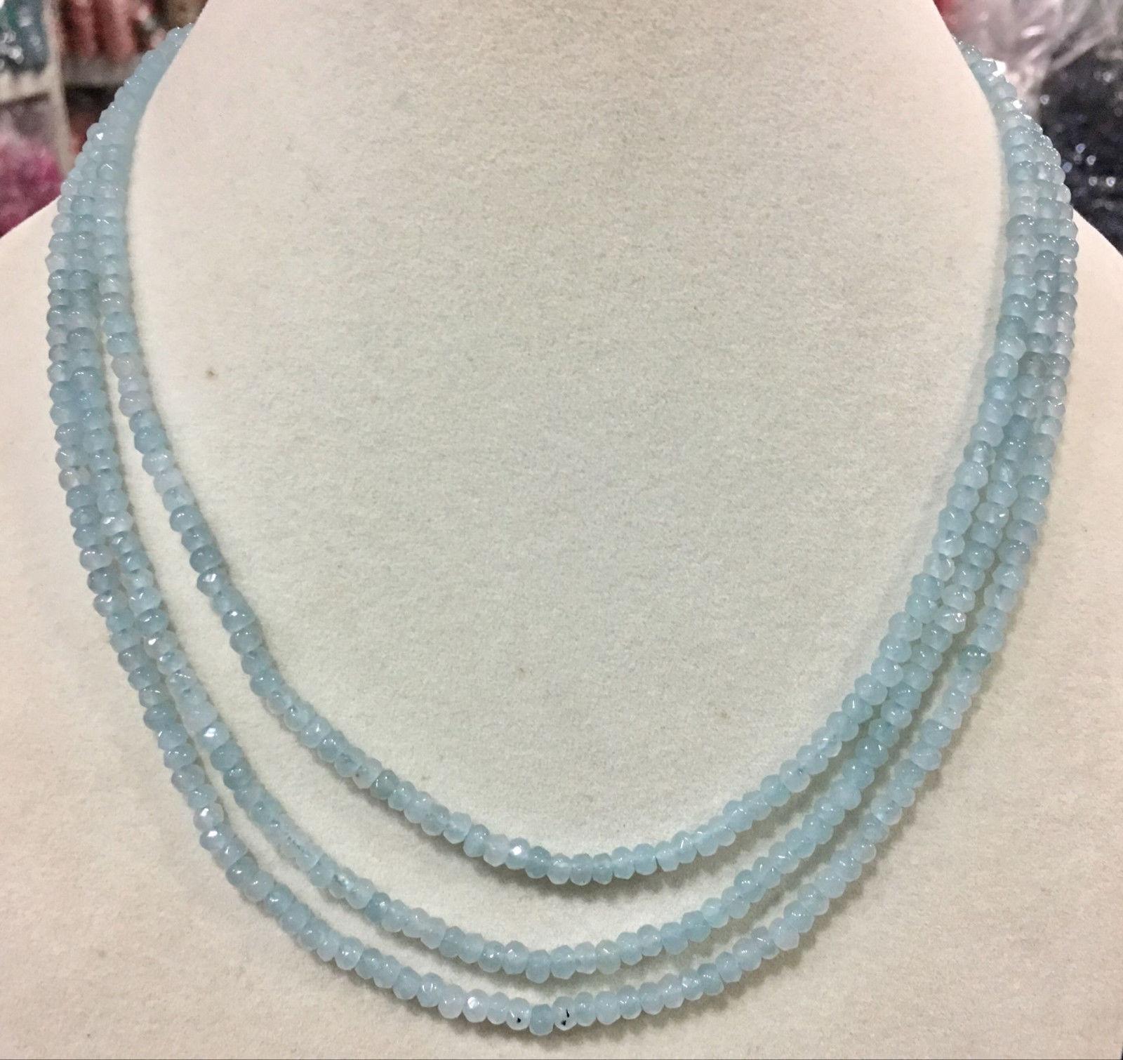 "Genuine natural 3 row 2X4 mm facial aquamarine Roundel bead necklace 17-19"""