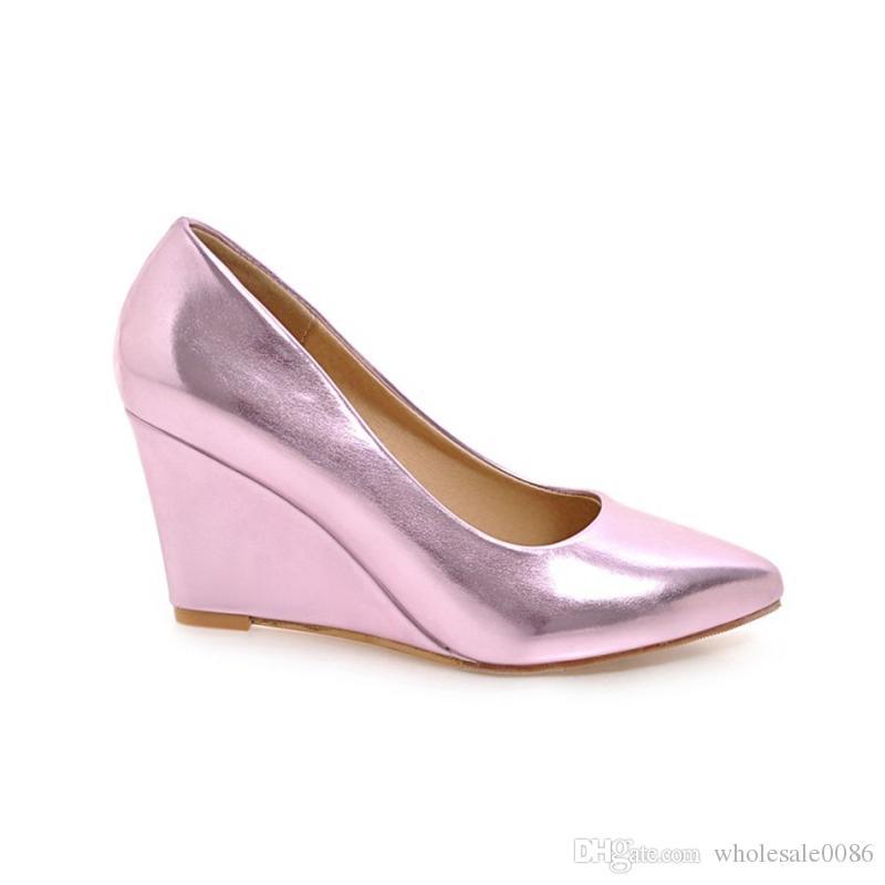 Großhandel Mode Damen Keilabsatz Schuhe Damen Spitz Kunstleder Sandalen Pumpe S529 US Größe 4 10.5 Von Wholesale0086, $29.3 Auf De.Dhgate.Com | Dhgate