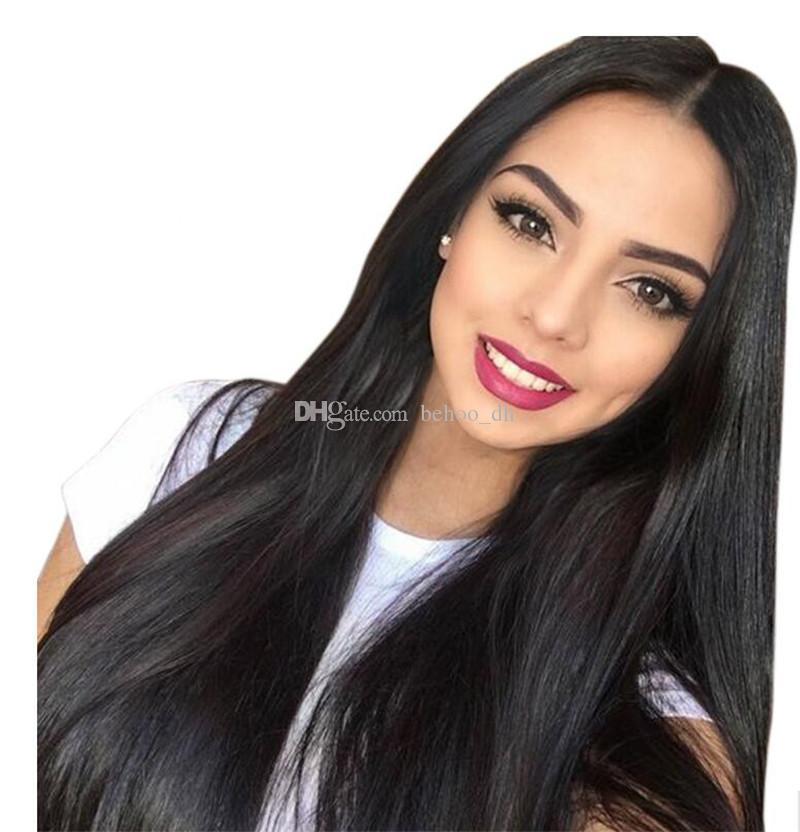 8A полные парики человеческих волос шнурка для черных женщин Glueless полные парики шнурка бразильские девственные волосы прямые шнурка передние парики человеческих волос