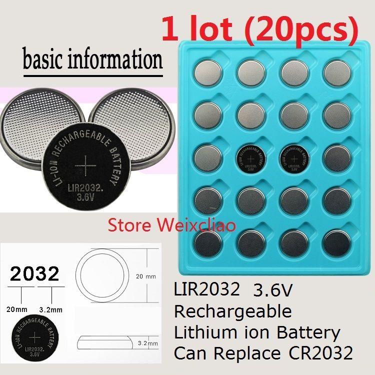 20 SZTUK 1 LOT LIR2032 3.6 V LIUM LI ION AKUSKIWANIE Guzik baterii komórkowej 2032 3.6 VOLT LI-ION Baterie Monety zastępują CR2032 Darmowa Wysyłka