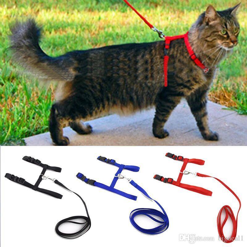 2018 Collar de Gato para Perro Arnés y Correa de Nylon Ajustable para Mascotas de Tracción Gato Gatito Halter Collar de Gatos Productos Para Mascotas Cinturón de Arnés