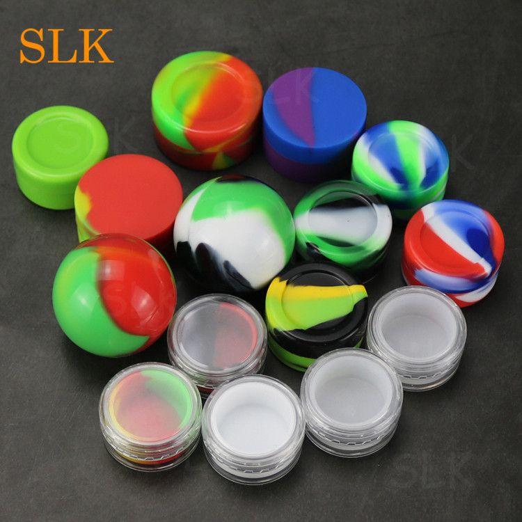 Soporte de cera de silicona recipientes para toques 5ml 6ml 7ml 10ml precio al por mayor dab jar aceite cocina cera redonda caja concentrado multi uso