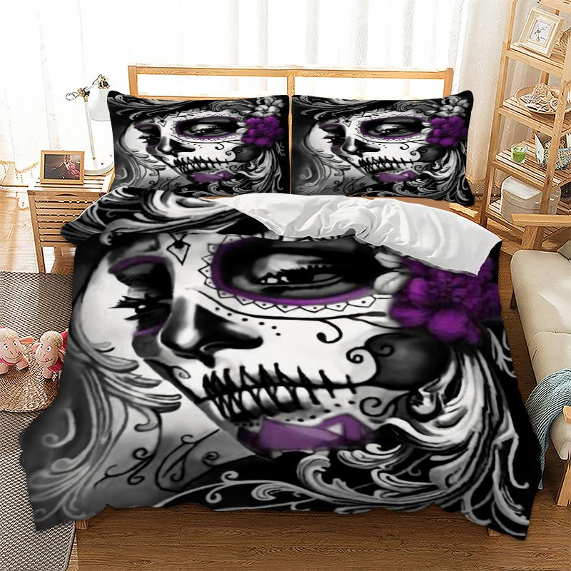 Gothic Bedding Set Twin Full Queen King Super King All Size Duvet Cover Quilt Cover Pillow Cases Skull 3pcs