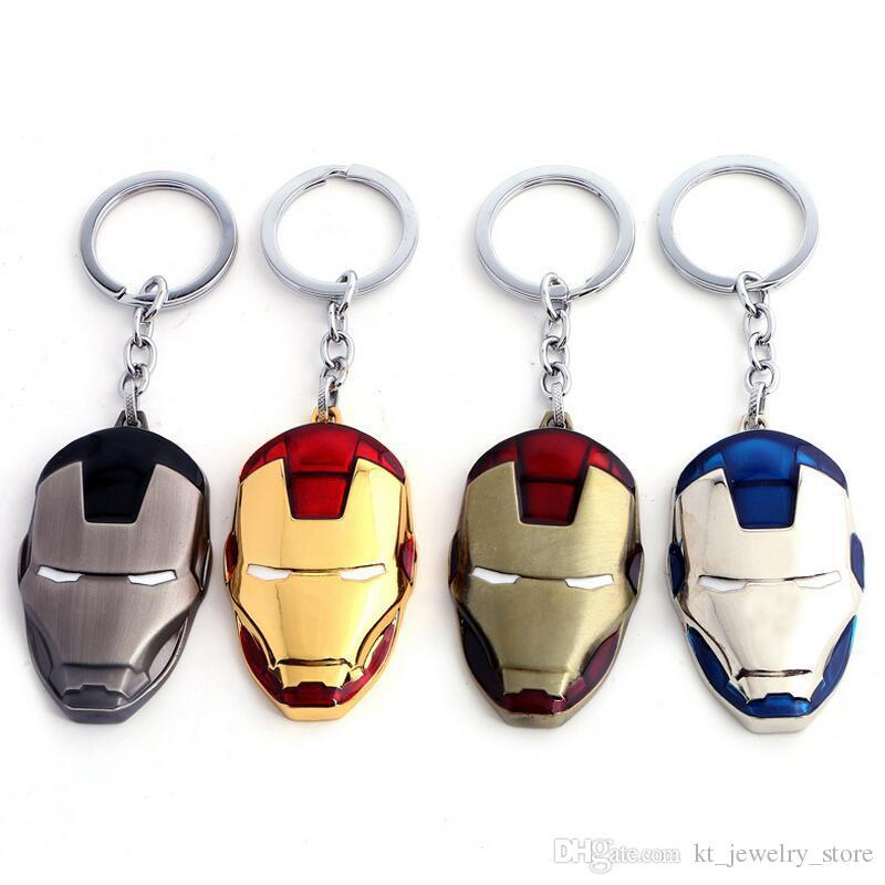 Anime Movie Marvel Superman The Avengers Iron Man Mask Metal Keychain Llaveros Black Gold Chain For Men Movie Fans Souvenir Jewelry