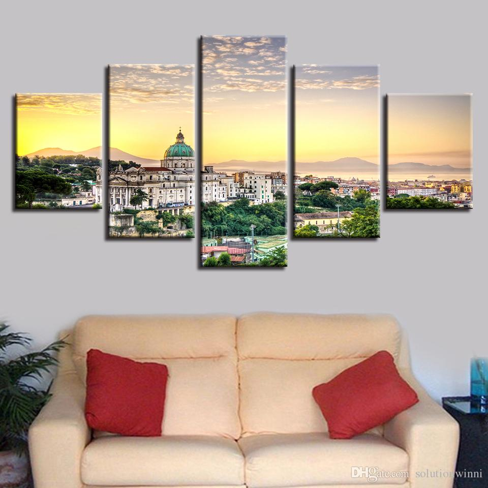Canvas Pictures Modular Poster Frame 5 Pieces Christian Church Building Natural Scenery Painting HD Printing Wall Art Decor Room