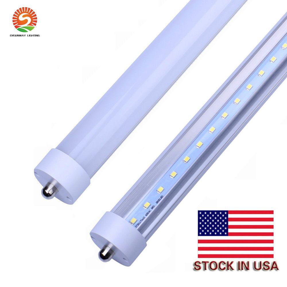 Estoque em US + 8 pés LED 8FT único pino T8 Fa8 único pino LED tubo luzes 45w 4800lm lâmpadas fluorescentes lâmpadas fluorescentes 85-265V