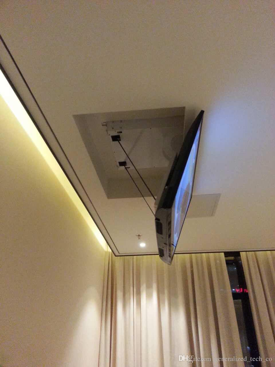 انقلاب كهربائي بمحرك السقف LED LCD TV رفع جبل شماعات حامل وظيفة التحكم عن بعد 110V-250V ، يصلح ل 32 -70 TV أماه