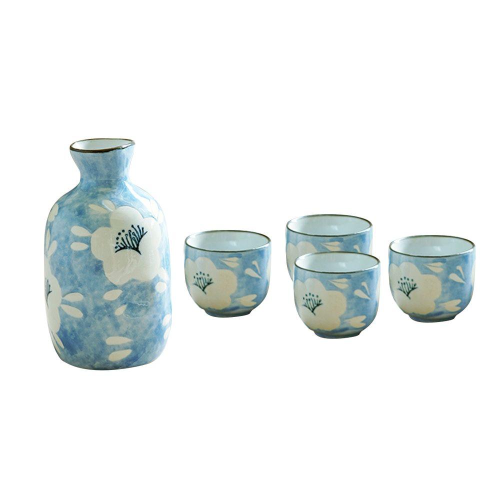 Set de service à saké Procelain de style japonais fait main Bouteille en céramique imprimée Tasses à saké Tasses en céramique pour un verre de vin